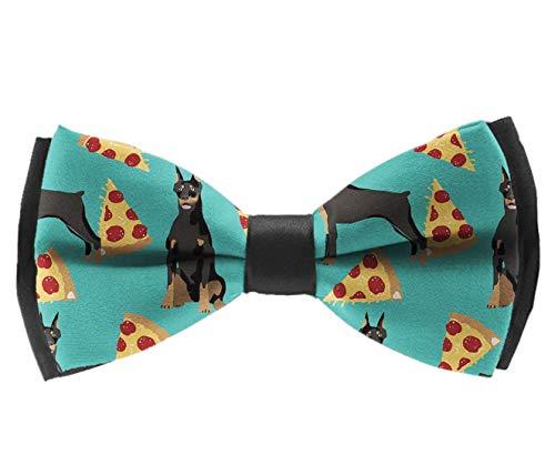 (L Wright-King Mens Classic Pre-Tied Satin Formal Tuxedo Bowtie Adjustable Doberman Pinscher Pizza)