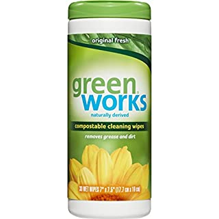 Green Works Compostable Cleaning Wipes, Biodegradable Cleaning Wipes - Original Fresh, 30 Count