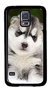 Diy Fashion Case for Samsung Galaxy S5,Black Plastic Case Shell for Samsung Galaxy S5 i9600 with Cute Husky