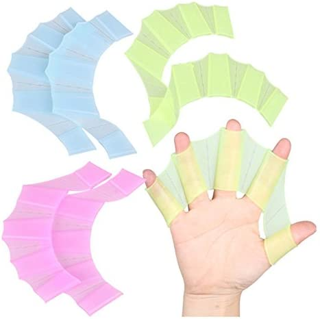 RICISUNG Frog Gear Fins Hand Palm Silicone Swimming Finger Webbed Gloves Flippers Paddle Green