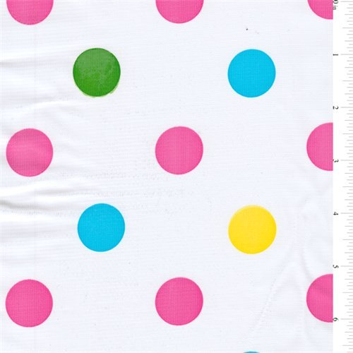 [Pink Dot Oilcloth, Fabric Sold By the Yard] (Polka Dot Oilcloth)