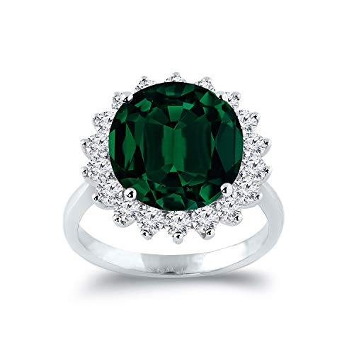 Diamond Wish 18k White Gold 5 1/4ct Emerald and 1ct TDW Diamond Halo Engagement Ring, Size 7