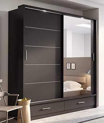 Arthauss Arti 5 Armario con puerta corredera y espejo, 200 cm, color negro mate: Amazon.es: Hogar