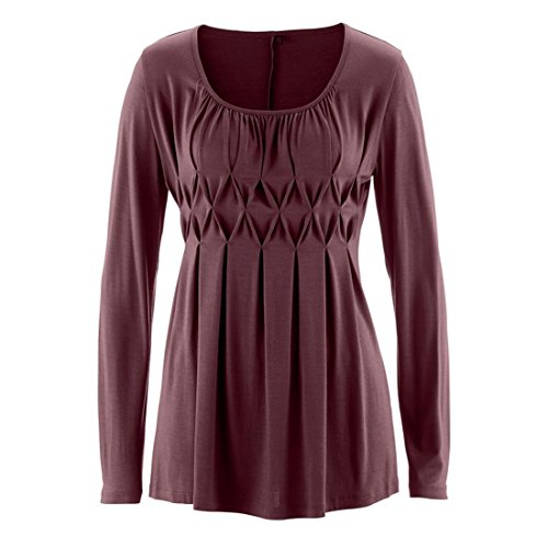GONKOMA Clearance Women Casual Solid Color Blouse Row Pleats Ruched Round Neck Fashion Long Sleeve T-Shirt Top (M, Wine)