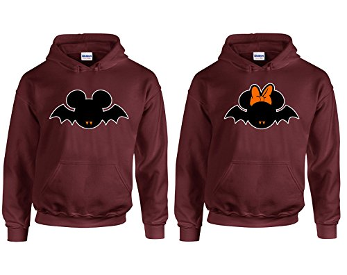 Disney Mickey Minnie Bats Halloween Costumes Couple Most Popular Hoodie Hooded Sweatshirt 2(Maroon-Maroon,Men-XL/Women-XL) ()