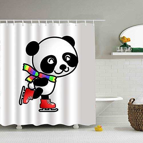 (Trongr Custom Shower Curtain Clipart Skating Panda Extra Long Bathroom Curtains for Housewarming Gift)