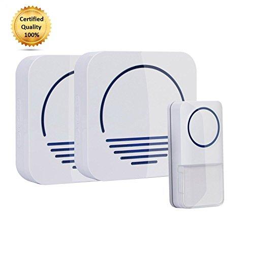 Wireless Doorbell System w/ 1 Push Button & 2 Receivers, Enjoy a Remote Doorbell w/ Wireless Plugin Doorbell Kit, LED Light & 50+ Chimes, Choose Your Sound w/ Great Vibez Modern Wireless Doorbell!