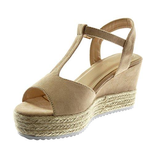 Tressé Chaussures Mules Sandales Cordon Beige 8 Plateforme De String De 5 Plate forme Des Sneaker Femmes Mode Coin Cm bar Angkorly T Unique YxwYqrOXg
