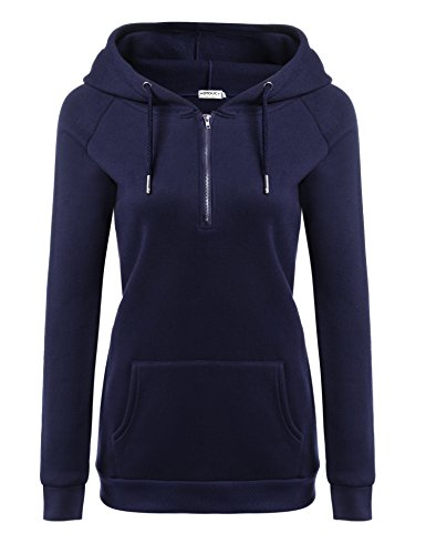 HOTOUCH Women's Basic Long Sleeve Fleece Pullover Hoodie with Kangaroo Pockets , Navy Blue , Large