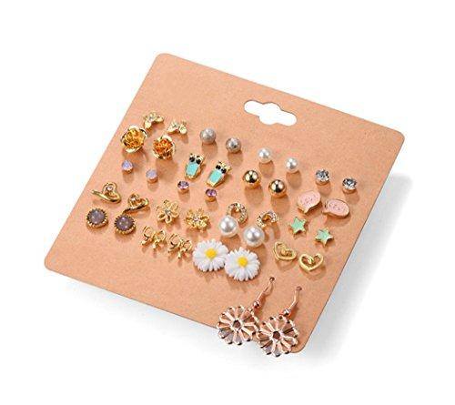 Crystal Daisy Piercing Earrings - Ainiya White Crystal Flower Star Owl Daisy Ball Punk Geometric Stud Earrings Peach Heart Piercing Earrings Sets For Women