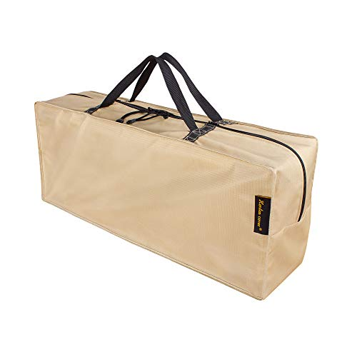 "HENTEX Cushion Cover Storage Bag, Outdoor Zippered Storage Bags with Handles, 48""L×16""W×22""H, Khaki"