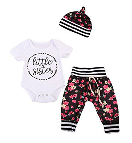 Newborn Lil Little Sister Big Sister Outfit Dress Sets (70 (0-6 Months), Little Sister - Black Flower Pants & Matching Hat) ()