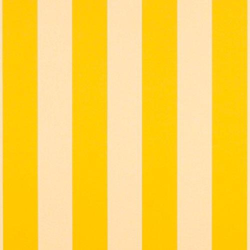 Yellow Stripe Upholstery Fabric - Sunbrella 46in Stripes Standard Yellow/White 6 Bar Fabric By The Yard