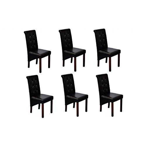 Esszimmerstühle Esszimmersessel Klassik (6er Set) mit Rückenlehne, schwarzes Kunstleder