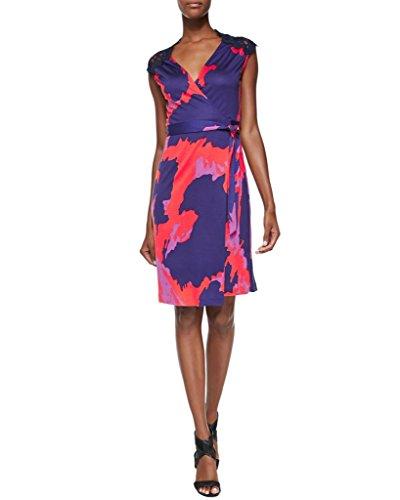 Diane von Furstenberg Lace Panel OLIVIER Wrap Silk Dress in Vintage Leopard Red