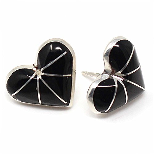 Zuni Channel Inlay Jet Post Heart Earring Handcrafted By Kalestewa