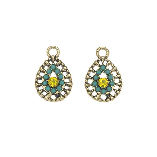 Zola Elements Charm, El Sol Filigree Teardrop 11x17mm, 2 Pieces, Antiqued Gold - Filigree Gold Antiqued Tone