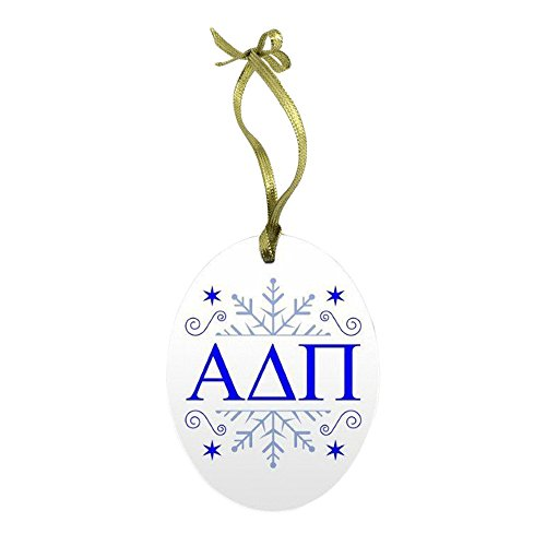 Express Design Group Alpha Delta Pi Holiday Color Snowflake Glass Christmas Ornament
