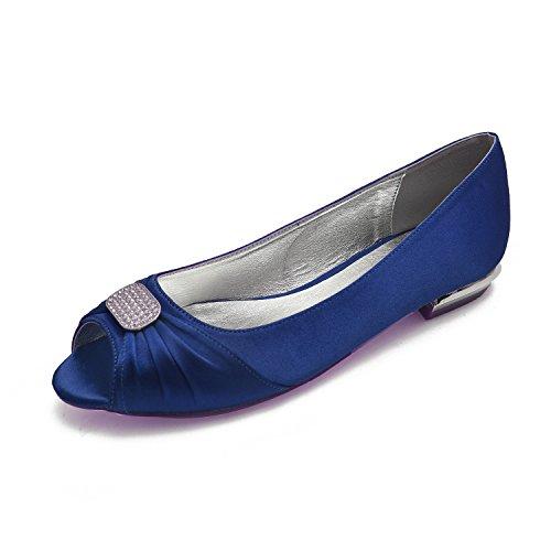 Bridal Royal Buckle MarHermoso Shoes Peep Rectangel Satin Blue Toe Rounded Wedding Ballet Womens ZPZBqxz