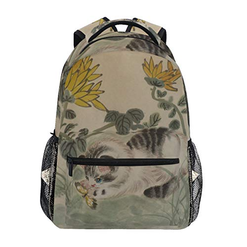 Women/Man Canvas Backpack Special Chinese Cat Art Zipper College School Bookbag Daypack Travel Rucksack Gym Bag For Youth (Best Itunes Gift Card Offers)