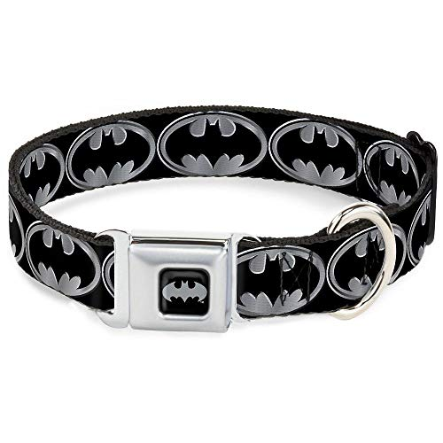"Buckle-Down Seatbelt Buckle Dog Collar - Batman Shield Black/Silver - 1"" Wide - Fits 9-15"" Neck - Small"