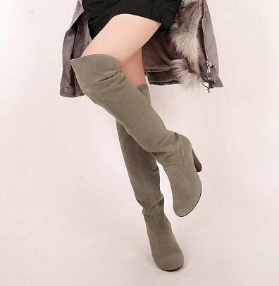 Hohe Stiefel hohen Absätzen Damenstiefel Casual Ritter Stiefel Grau