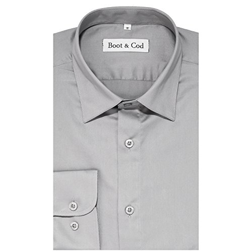 Boot & Cod Men's Charcoal Gray Fitted Long Sleeve Button Down Dress Shirt - L by Boot & Cod