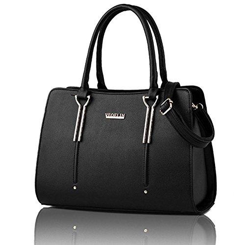 Satchel Shoulder Large (Women Satchel Handbag Top Handle Satchel Purse PU Leather Shoulder Bag Simple Purse Crossbody Daily Tote Bag (black))