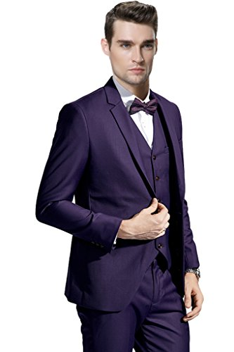 Hanayome Men's New 3 Pieces Purple Vest Blazer Tuxedo Suits & Pants Set - Suit Pants Purple