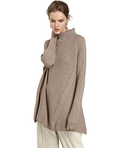 FINCATI Women's Sweater Pullover Turtleneck Cashmere Wool Soft Cozy Ribbed Elbow Oversized Long Sweaters Tunic (A-Camel, One Size)