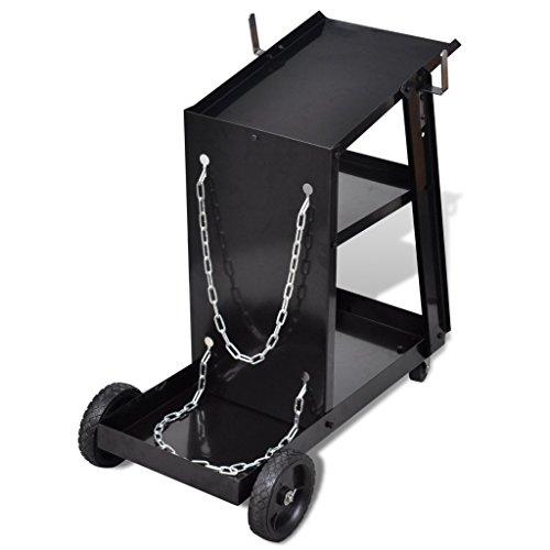 vidaXL Chariot pour poste de soudure avec 3 étagères Noir