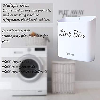 Magnetic and Wall Mountable Laundry Bin for Dryer Space Saving Magnetic Lint Bin Holder for Small Laundry Room Wall Decor Washer Off-White SESOLEIL Lint Bin for Laundry Room