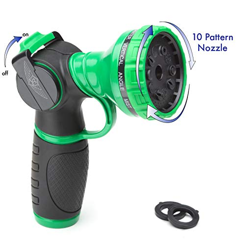 SC Water Metal Garden Hose Nozzle Anti Leak Heavy Duty 10 Pattern Anti Rust No Squeeze Sprayer High Pressure Attachment Car Wash Pet Shower Watering Plants + 1 Year Manufacturing Warranty by SC