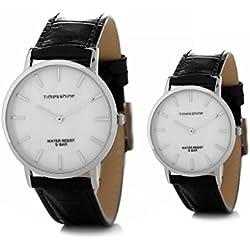 Timesshine Men's & Women's Retro Ultrathin TSL1520 Shell Dial Watch with Black Leather Band