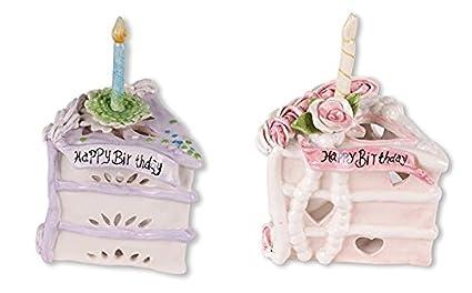 Amazon Blue Sky Happy Birthday Cake Tealight Holder Purple And