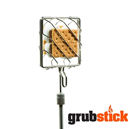 Grubstick   4 Piece Kit   Telescopic Extendable Campfire Fireplace Skewer with Interchangeable Attachments   Great for Marshmallow S'Mores and Hot Dogs   Dishwasher Safe Heavy Duty Stainless Steel