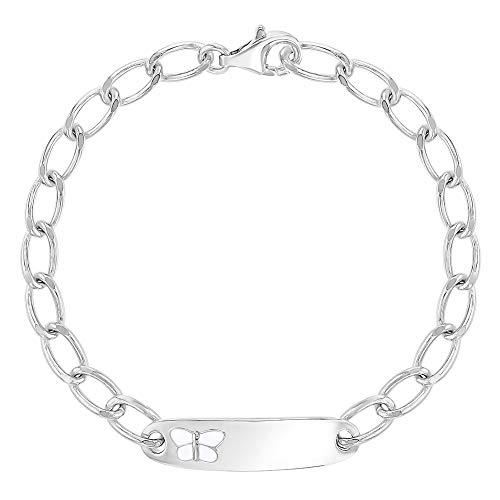 925 Sterling Silver Identification Butterfly Bracelet for Little Girls 5.5