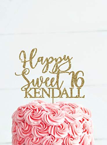 KISKISTONITE Sweet 16 cake topper Happy Birthday Cake Toppers, Sparkling Gold Glittery Birthday Cupcake Picks, Birthday Party Decorations,Gold -