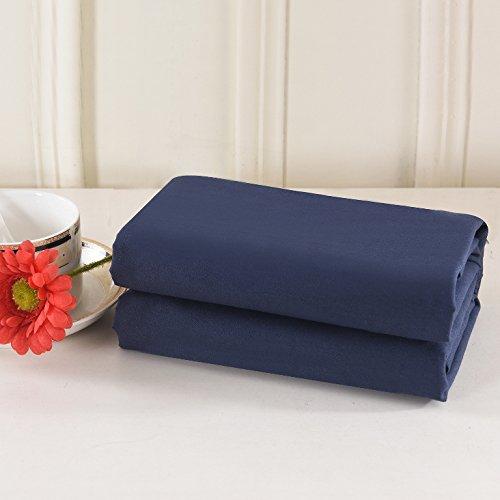 (Lullabi Bedding 100% Brushed Microfiber Ultra Soft Pillow Case Set - Envelope Closure End - Wrinkle, Fade, Stain Resistant (Navy, Standard Pillowcase))