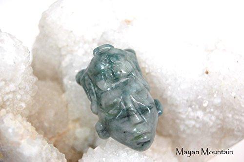 MAYAN JAGUAR WARRIOR NECKLACE PENDANT IN GUATEMALAN JADEITE JADE MAYAN FACE (Jadeite Pendant Necklace)