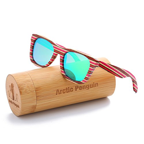 New Wayfarer Polarized Sunglasses for Men Vintage Wood Sun Glasses Women Eyewear (red,green) - Penguins Wood