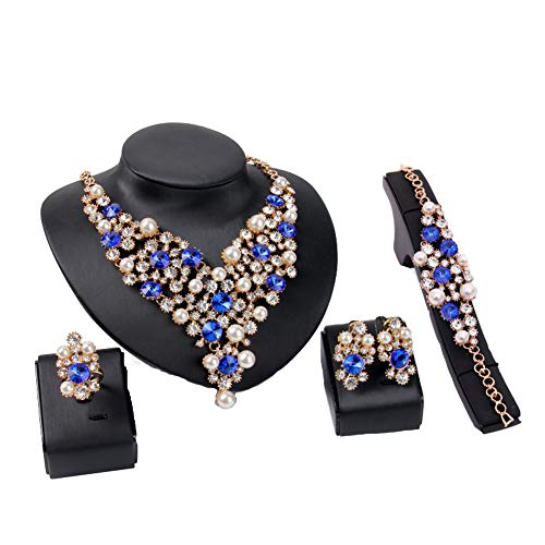Everrich Luxurious Blue Crystal Bridal Cream Simulated Pearl Gold Plated Statement Necklace Earrings Jewelry Sets for Women Costume,4 Pairs -