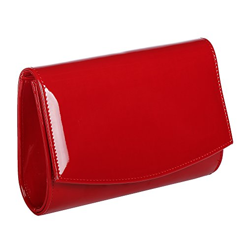Women Leather Fashion Clutch Purses,WALLYN'S Evening Bag Handbag Solid Color (Red)