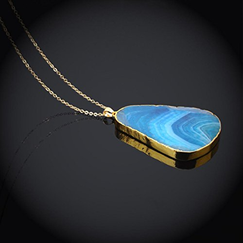 (Clearance! Women's Necklace, Iuhan Natural Stone Crystal Rock Necklace Gold Plated Quartz Pendant (Blue))