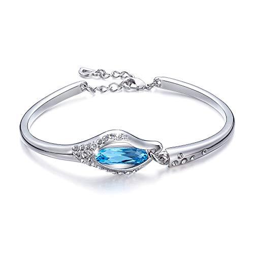 KAMLE Swarovski Crystals Bangle Bracelet Adjustable Link for Girl & Women with Gift Box
