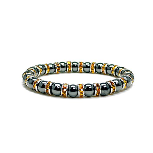 Accents Kingdom Women's Magnetic Hematite Tuchi Simulated Pearl Bracelet with Simulated Citrine Crystal, 7.5