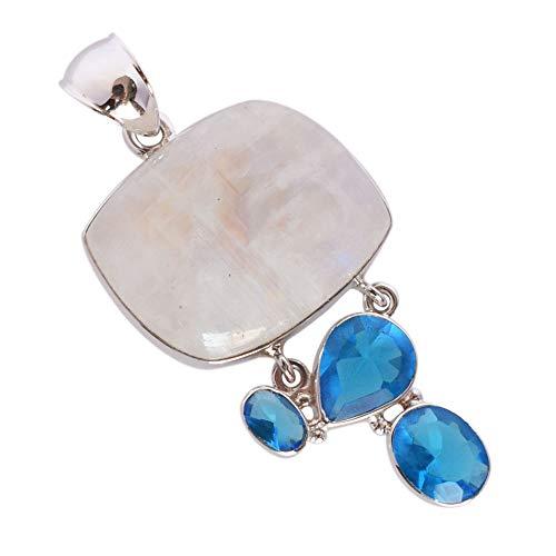 - Ravishing Impressions Natural Blue Fire Rainbow Moonstone Pendant, Blue Quartz, 925 Solid Sterling Silver Jewellery, Gifts for Her FSJ-3205