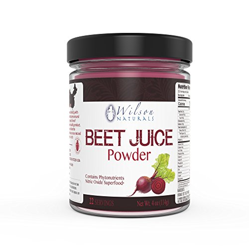 Wilson Naturals Organic Beet Root Juice Powder Superfood (Non-GMO) - Natural Nitrates (Nitric Oxide), Phytonutrients, No Additives/Fillers or Sweetners – Pure Beet Extract - 114 grams (22 Servings)