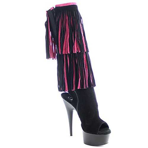Pleaser DELIGHT-2059TT Blk-H. Pink Suede/Blk Matte Size UK 6 EU 39