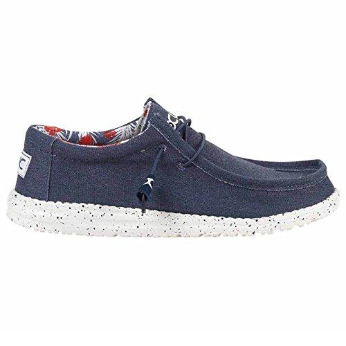Hey Dude Men's Wally Stretch Loafers, Blue, Textile, Memory Foam, 7 US M/EU 40